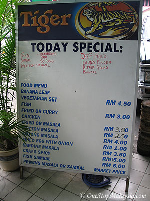 Menu and Today's Special