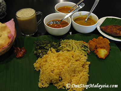 Banana Leaf Rice Set with Fried Fish & Nescafe